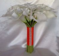 ARTIFICIAL FLOWERS WHITE CALLA LILY WEDDING BRIDES POSIE BOUQUET DIAMANTE ORANGE